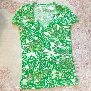 Lilly Pulitzer Knit Green & Pink V Neck Top XS